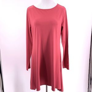 Soft Surroundings Pink Red Tunic Dress Side Slit